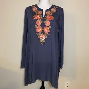 Andree floral embroidered tunic with eyelet back